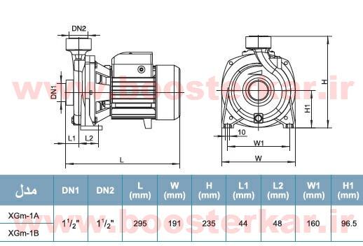 جدول ابعاد الکتروپمپ بشقابی لیو LEO XGm