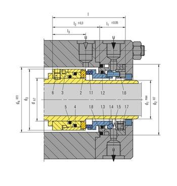 جدول ابعاد مکانیکال سیل EK700 بروگمن