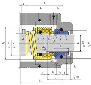 جدول ابعاد و اندازه مکانیکال سیل H12N بروگمن