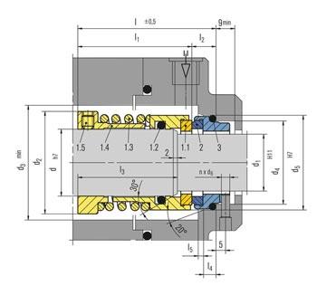 جدول ابعاد و اندازه مکانیکال سیل H3B بروگمن