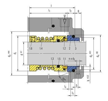مشخصات ابعاد و اندازه مکانیکال سیل HA211