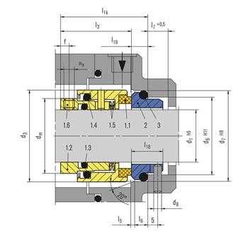 جدول ابعاد و اندازه مکانیکال سیل HJ92N بروگمن