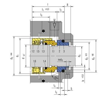 جدول ابعاد مکانیکال سیل LB500 بروگمن