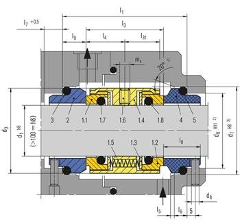 ابعاد و اندازه مکانیکال سیل M74-D بروگمن