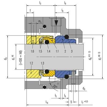 مشخصات ابعاد و اندازه مکانیکال سیل بروگمن سری M7N